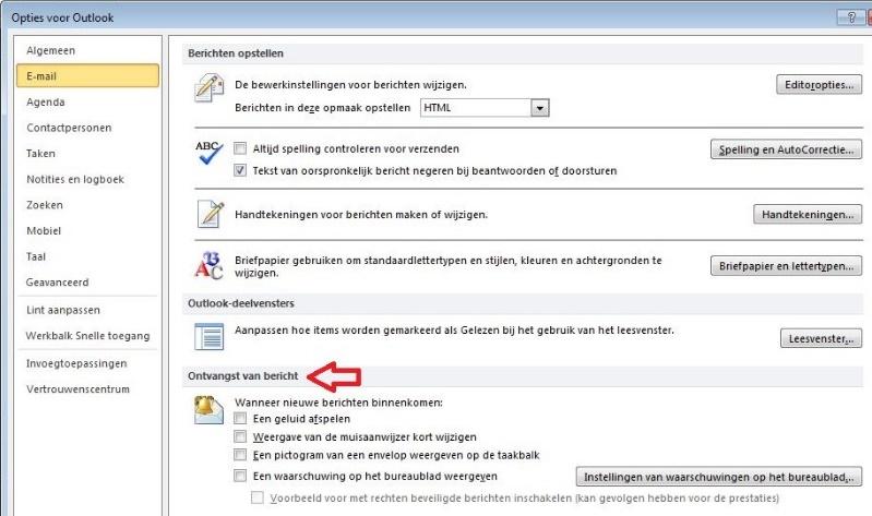 Geen meldingen nieuwe mail Outlook