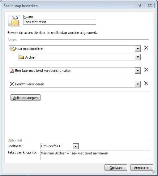 Taak met tekst Outlook