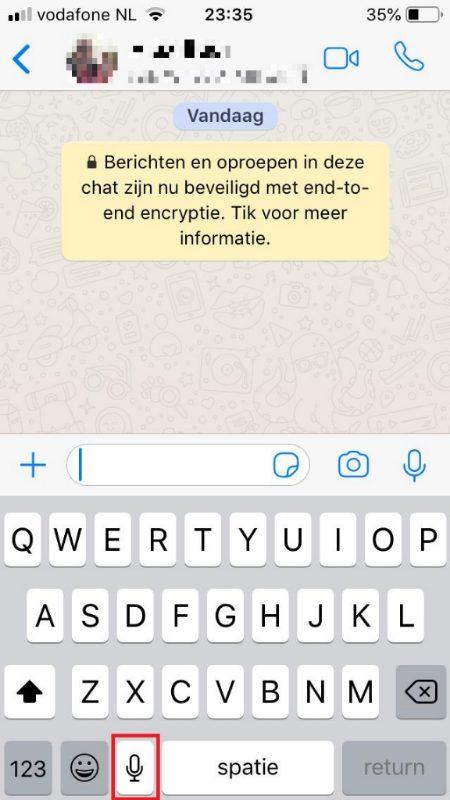 Whatsapp microfoon dicteren