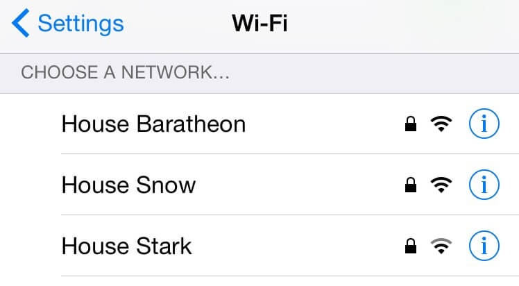 Game of Thrones wifi namen